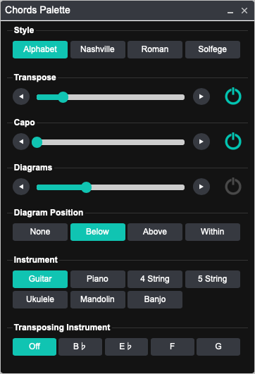 Onsong Manual Chords Palette