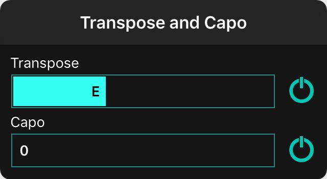 OnSong | Manual | Transpose and Capo Menu