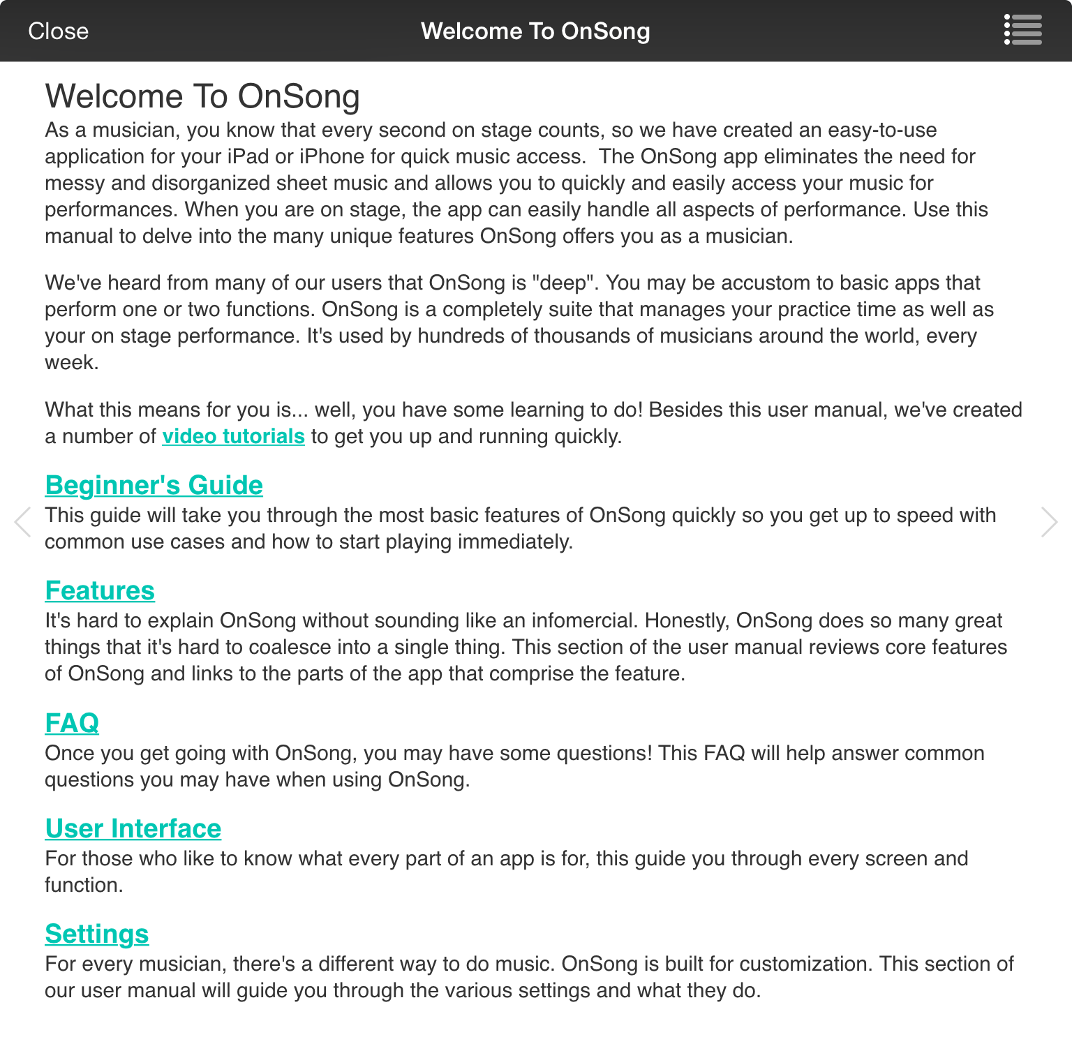 OnSong | Manual | User Manual