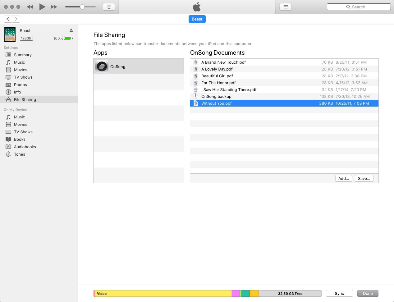 OnSong | Manual | iTunes File Sharing